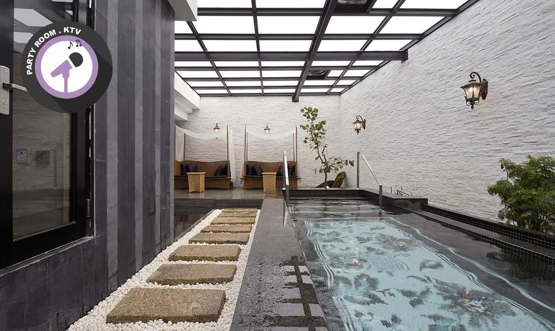 雲河概念旅館-穹頂 KTV + 泳池 + 岩盤浴房 4h|6 人優惠再贈酒