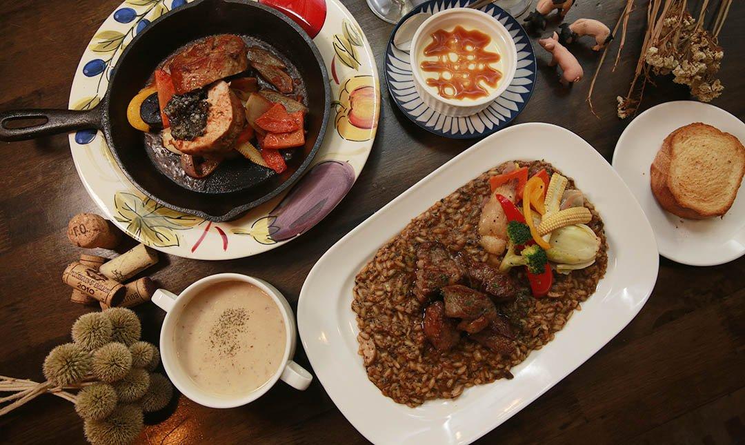 豬跳舞小餐館-獨家招牌雙主餐 + 附餐 + 甜點 + 紅白酒