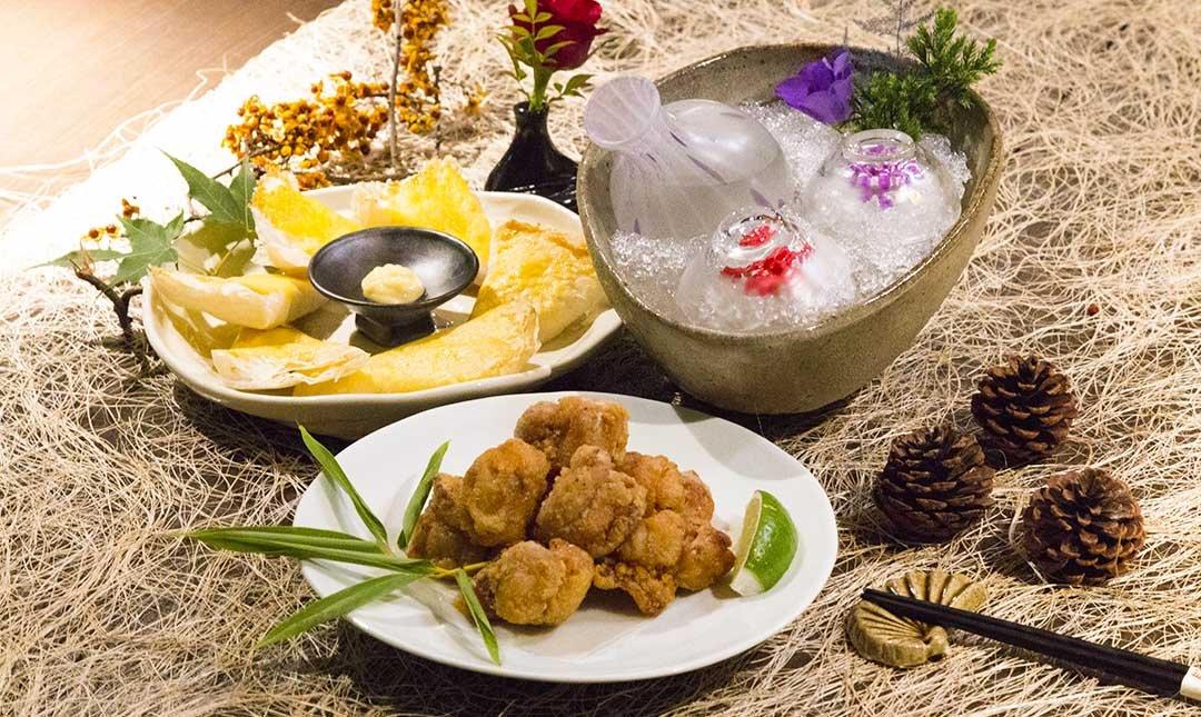 新都里懷石料理-下酒清酌 | 起士薄餅+雞唐揚+清酒