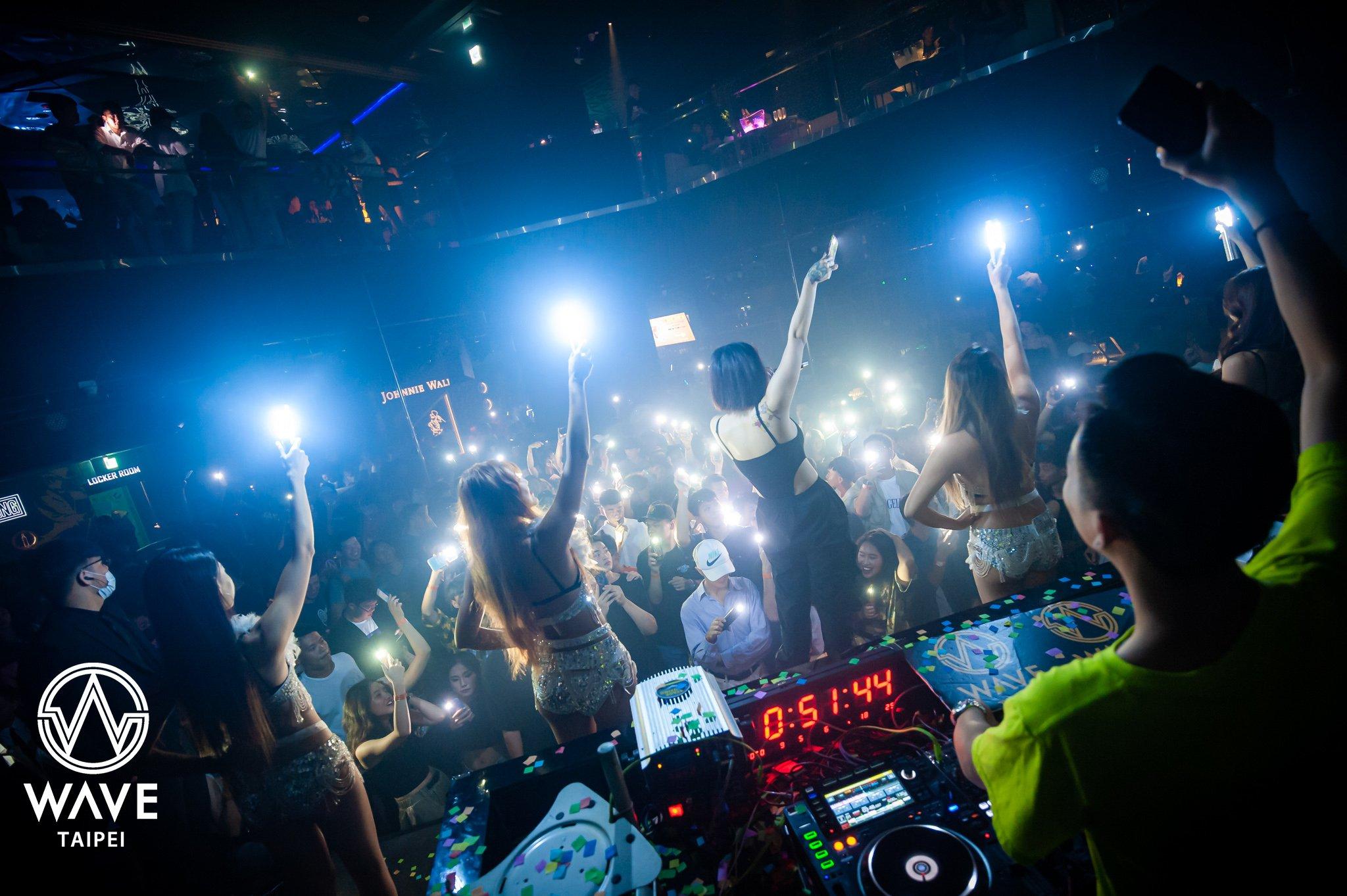 DJ, people and spotlight