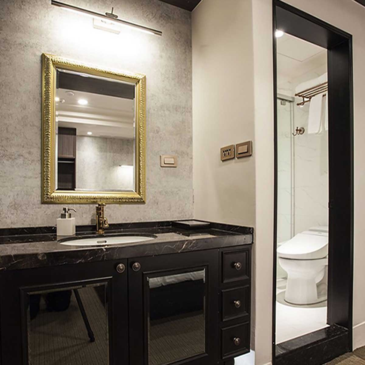 mirror and cabinetry and toilet